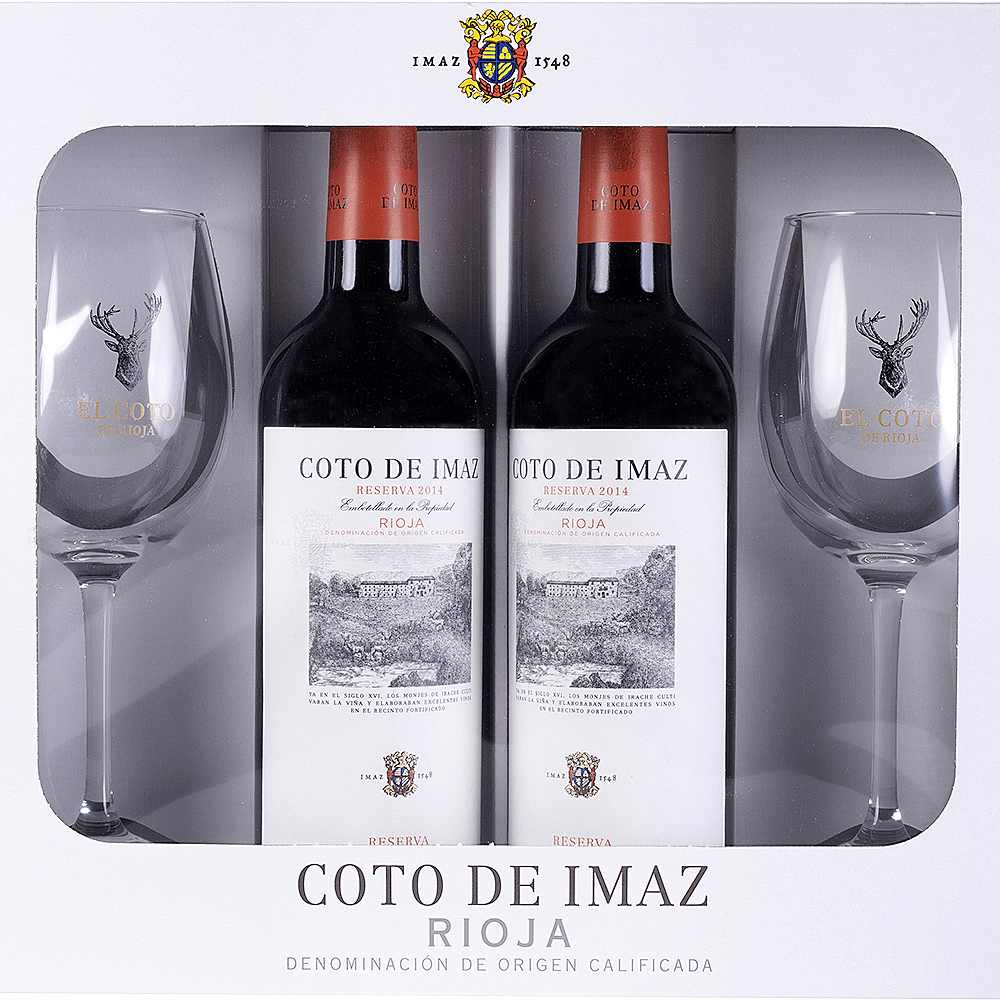 Pack Coto Imaz Reserva 2 Botellas 75cl + 2 Copas