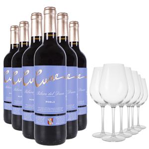 Lote Cune Ribera del Duero Roble 6 Botellas 75cl + 6 Copas