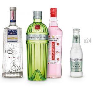 Promo Lote de Ginebras Tanqueray, Palmbridge y Martin Millers Gin + Caja 24 Tónicas Fever Tree Elderflower 20cl