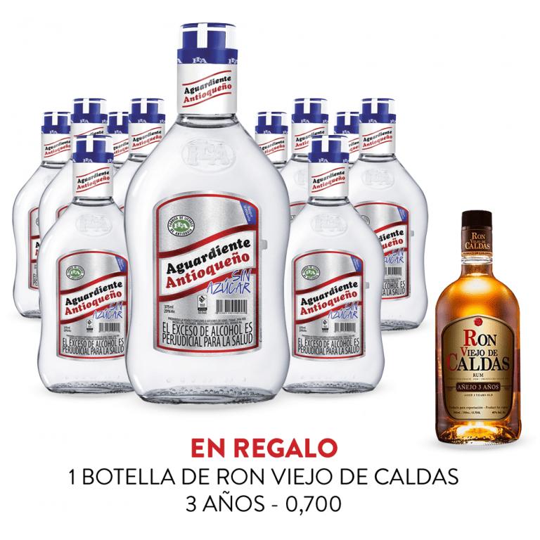 Promo Aguardiente Antioqueño Sin Azucar 70cl 11 Botellas + Ron Viejo de Caldas 3 años 70cl