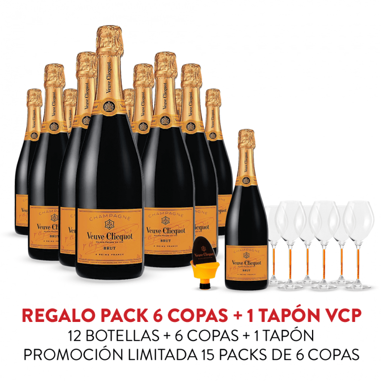 Promo Veuve Clicquot Brut 12 Botellas + 6 Copas + Tapón VCP