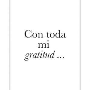 """Tarjeta """"Con toda mi gratitud..."""""""